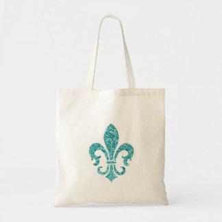Aqua Glitter Look Fleur de Lis Canvas Bag