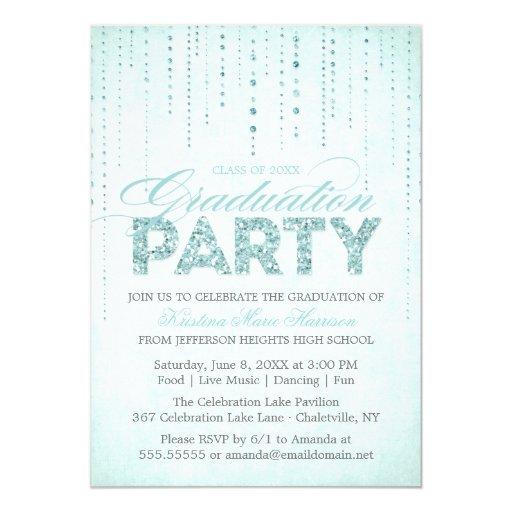 Aqua Glitter Look Graduation Party Invitation