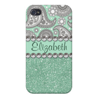 Aqua Glitter Paisley Rhinestone Pattern iPhone 4/4S Cover