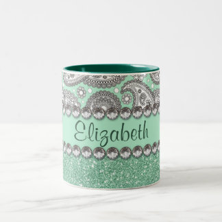 Aqua Glitter Paisley Rhinestone Personalize Two-Tone Coffee Mug