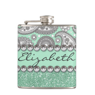 Aqua Glitter Paisley Rhinestone Print Pattern Flask
