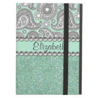 Aqua Glitter Paisley Rhinestone Print Pattern iPad Air Cover
