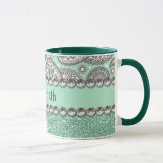Aqua Glitter Paisley Rhinestone Print Pattern Mug