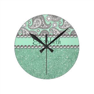 Aqua Glitter Paisley Rhinestone Print Pattern Round Clock
