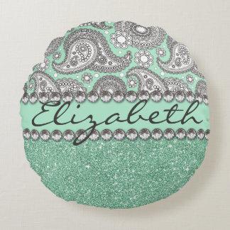 Aqua Glitter Paisley Rhinestone Print Pattern Round Pillow