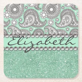 Aqua Glitter Paisley Rhinestone Print Pattern Square Paper Coaster