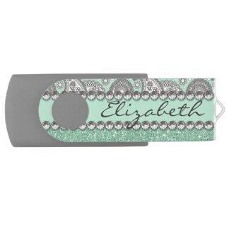 Aqua Glitter Paisley Rhinestone Print Pattern USB Flash Drive