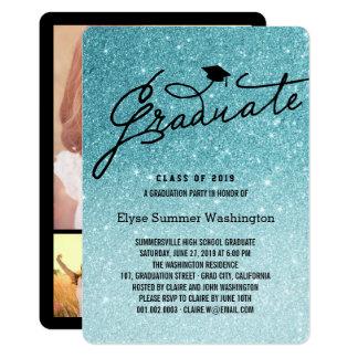 Aqua Glitter Stylish Graduate Grad Party Invite