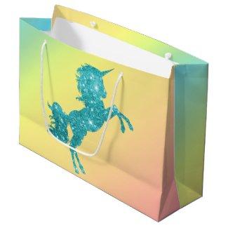 Aqua Glitter Unicorn Large Gift Bag