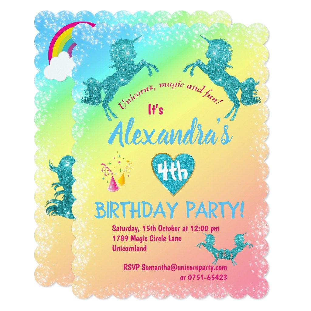 Aqua Glitter Unicorns Birthday Invitation
