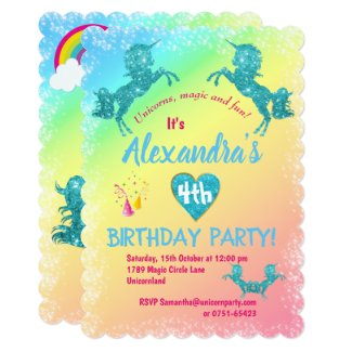 Aqua Glitter Unicorns Birthday Invitation