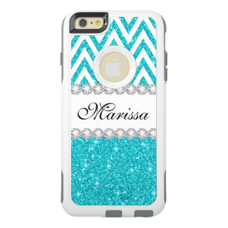 Aqua Glitter White Chevron OtterBox iPhone 6 Case