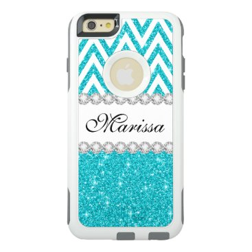 Christmas Themed Aqua Glitter White Chevron OtterBox iPhone 6 Case