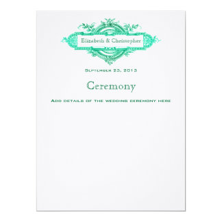Aqua Glow Vintage Wedding Program Custom Announcements