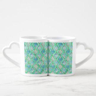 Aqua gold and Green Maroccan pattern Coffee Mug Set