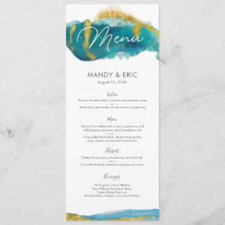 Aqua gold Beach Wedding Menu or Program Card