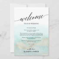 Aqua Gold Beach Wedding Welcome Letter & Itinerary