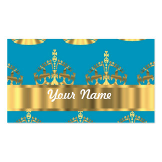 Aqua & gold crown pattern Double-Sided standard business cards (Pack of 100)
