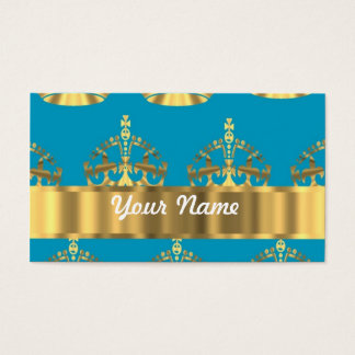 Aqua & gold crown pattern business card