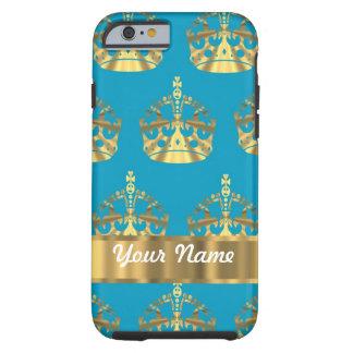 Aqua & gold crown pattern iPhone 6 case