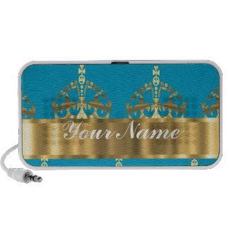 Aqua & gold crown pattern mini speaker