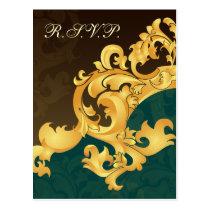 aqua gold elegance RSVP cards