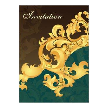 aqua gold elegance wedding invitation