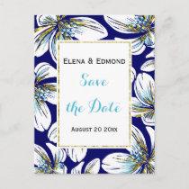 Aqua, gold foil floral navy wedding Save the Date Announcement Postcard