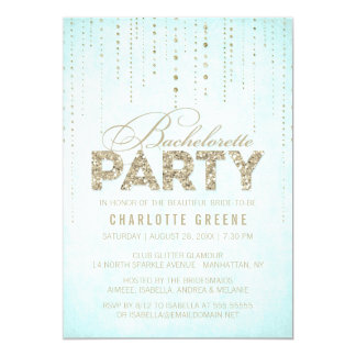 Aqua & Gold Glitter Look Bachelorette Party Card