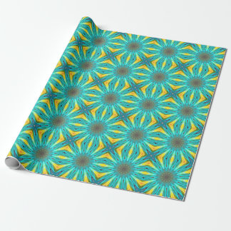 Aqua Gold Joy to the World Abstract Flowers Gift Wrapping Paper