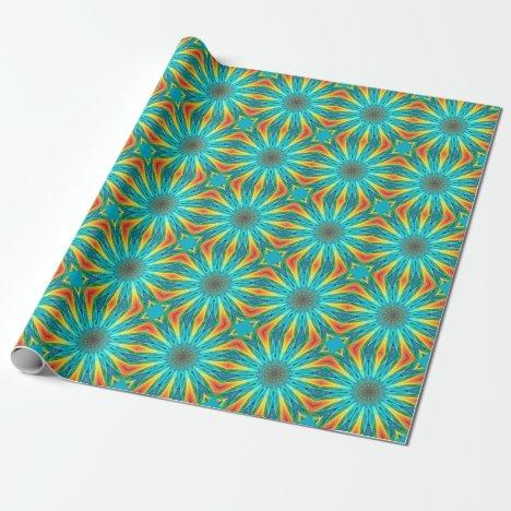 Aqua Gold Joy to the World Abstract Mandala Wrapping Paper