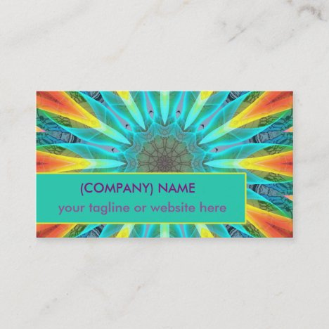 Aqua Gold Joy to the World Mandala Abstract Business Card