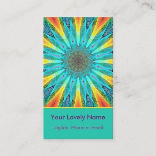Aqua Gold Joy to the World Mandala Modern Business Card