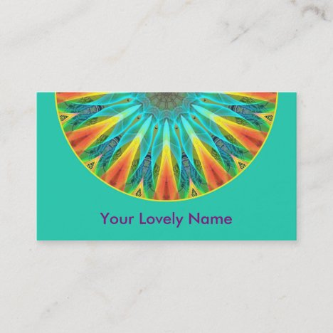 Aqua Gold Joy to the World Mandala Modern Business Card