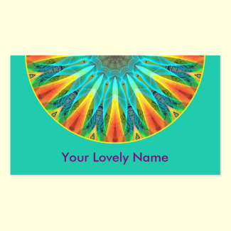 Aqua Gold Joy to the World Mandala Modern Double-Sided Standard Business Cards (Pack Of 100)
