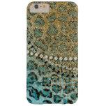 Aqua Gold Leopard Animal Print Glitter Look Jewel Barely There iPhone 6 Plus Case