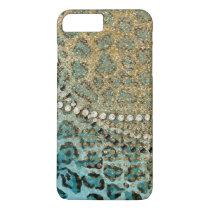 Aqua Gold Leopard Animal Print Glitter Look Jewel iPhone 7 Plus Case