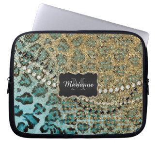 Aqua Gold Leopard Animal Print Glitter Look Jewel Laptop Sleeve