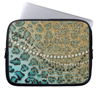 Aqua Gold Leopard Animal Print Glitter Look Jewel Laptop Sleeves