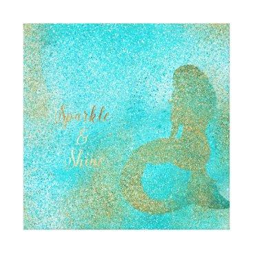 Art Themed Aqua Gold Mermaid Sparkle Canvas Print