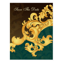 aqua gold save the date announcement postcard