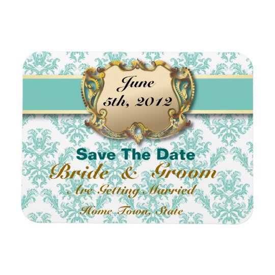 Aqua & Gold - Save The Date Flex Magnet 2