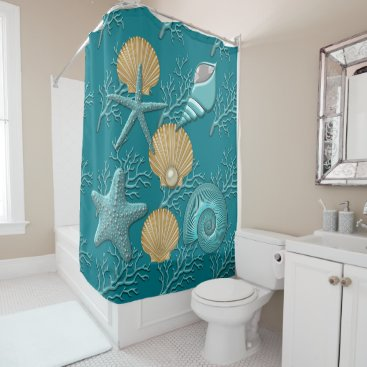 Beach Themed Aqua & Gold Seahells Coral Reef Shower Curtain