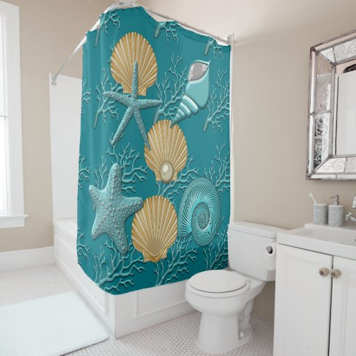 Aqua & Gold Seahells Coral Reef Shower Curtain