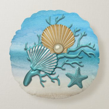 Beach Themed Aqua & Gold Seashells Beach Round Pillow