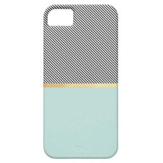 Aqua, Gold & Stripes iPhone SE/5/5s Case