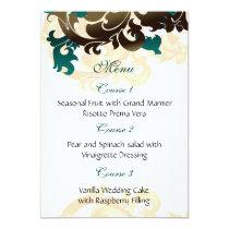 aqua gold wedding menu card