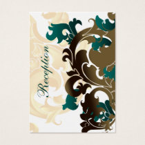 aqua gold wedding Reception Cards