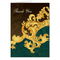 aqua gold wedding ThankYou Cards