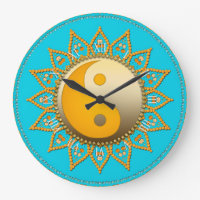 Aqua Gold YinYang Tuscan Sun Home Decor Clock